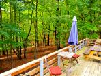Deck overlooking pristine woods.