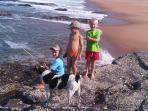 Fishing off rocks at the main beach