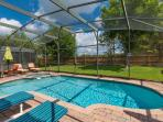 Private Back Yard with fence, Pool and spa area