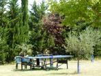 table de ping-pong, boule de pétanque, jeux de société et bibliothèque à disposition