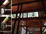 Before and after we replaced yellow filmed skylights. See how the trees 'come inside' now.