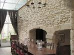 The large dining table in the 14th Century Guards Room