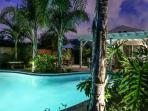Backyard w/Pool At Dusk