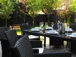 Outside dining for 8