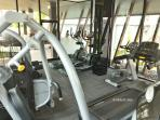 Gym with equipment.