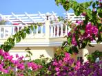 The beautiful Honeymoon Villa with its pink blossoms & amazing outside living spaces is exceptional