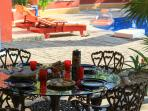 Dining on the patio at Casa Martia