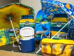 Beach chairs , umbrellas, coolers and even snorkel gear you are all ready for you to use!