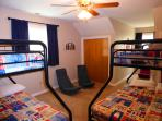 Upstairs bunk room: double on bottom, twin on top. Beautiful lake views!