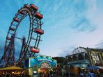 Prater with the Ferris wheel and many other attractions within walking distance
