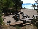 Beach. Bbq's. Volleyball. Picnic tables. Restrooms
