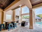 Lanai Area featuring Outdoor Seating, Fireplace and Full Fridge