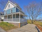 This 2-story home is situated on a corner lot.