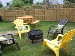 Relax by the firepit and enjoy the privacy fence.