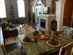 Great room 35 X 20 exposed brick wall rough cut granite gas fireplace,
