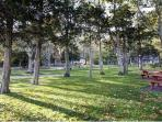 Cutchogue park adjacent to Pequash beach  play area and game fields for families