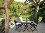 La terrazza giardino con vista mozzafiato della Dordogna
