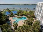 Community pool, hot tub, tennis courts, docks and Little Lagoon