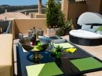 South facing terrace for all day sunbathing or great for entertaining