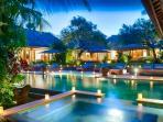 Magical View at Dusk from Pool Bale at Villa Vanna Sedi, Berawa Beach, Canggu, Bali, Indonesia