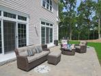 Comfortable and welcoming patio -gas grill-also has large table with 6 chairs and bench for dining- 5 White Cedar Lane...