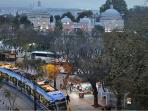view from terrace : tramway and sultanahmet square.