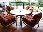 large roomy lanai to enjoy watching golfers, ocean and gecko's