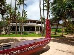 View from beach toward home - handcarved canoe