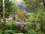 Vue sur le jardin privatif depuis la chambre en automne.