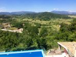 The view to the valley. Down the main pool you can see the roof of the Sapphire Villa