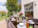 Alfresco Dining on the private terrace, a real room with a view !