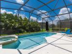 Screened from the neighbors with thoughtfully placed plants, this pool area is private!