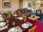 large sitting room/dining room. Wood burner.  Enjoy the views over the valley and bird watching.