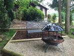 Outdoor bbq and Indian firepit with views to the town