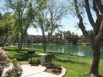 Lake in front of condo. Many grills around the complex are available.