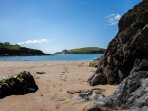 The beach is a stone's throw from the cottage - Challaborough Bay looking out to Burgh Island