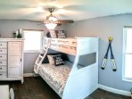 Bedroom 3 is great for kids with a double bed on the bottom and a twin top bunk.  Desk and Chest