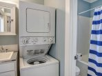 Washer and dryer in full bathroom