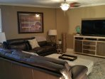 Riverfront Living Room with Queen Sofa Bed and Big Flat Screen TV