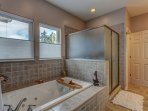 Bathroom with jacuzzi tub, shower, changing room, double sink, large spacious
