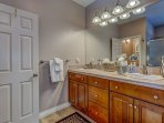Double sink vanity, spacious, with water closet, shower, jetted tub, changing rm