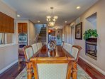Formal Dining room, fireplace, beautiful venue for any occasion.