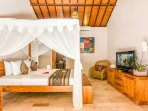 Master Bedroom with kingsize bed fully air-conditioning at Villa Can Barca.