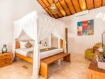 Master Bedroom with kingsizebed and fully air-conditioning at Villa Can Barca.