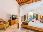 Comfortable king size bed with LCD TV enjoy International channel at Villa Can Barca.