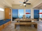 dining area with beach view