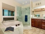 ensuite bathtub and shower area