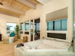 ensuite bathtub with beach view