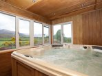 A Hot Tub to relax in and watch sky sports or just look at the views. It is balanced and monitored.