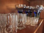 Our dining hutch is stocked with high end wine glasses and other bar accessories
